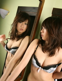 Puny asian coed with tidy nut Risa Misaki slipping off her undergarments