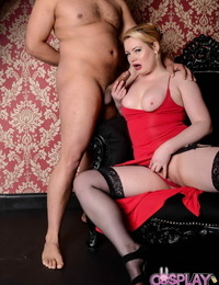 Ash-blonde honey in pantyhose Amber West cosplays while being plumbed