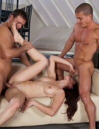 Naughty cougar Mira Sunset gets double intrusion and spunk tub from hung dudes