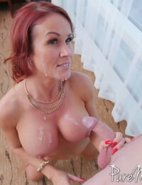Fat titted cougar Sabrina Cyns demonstrates her youthful lover how to nail