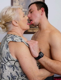 Obese granny undresses her new talented plaything for for a pleasuring bedroom tart\'s