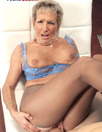 Over 70 granny Sandra Ann seduces a younger dude in crotchless blossom