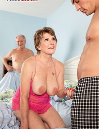 Busty granny Bea Cummins fucks a youthfull boy while her impotent spouse witnesses