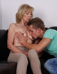 Cougar Szuzanne gets nipples deepthroated and old cunt screwed by youthful guy
