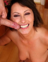 Lecherous cougar gets penetrated rough for cum on her smiley face