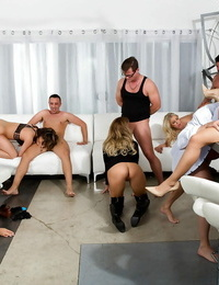Mummy adult movie stars receive facial cumshot jizz shots after wild orgy fuck session