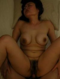 Big-titted asian Mummy Kaoru Mitamura enjoys cunt toying and pounding act