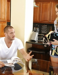 Underwear model Alexis Adams is demonstrating her big boobs on camera