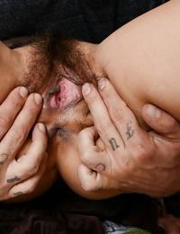 Trampy asian fledgling smallish a fat boner and gets her shaggy vulva jizzed