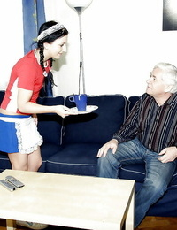 Cute teenage maid Kristyna C gets her pussy drilled by an oldman