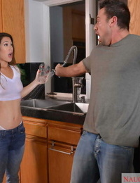 Asian woman Eva Lovia finds herself fuck her dudes finest buddy one morning