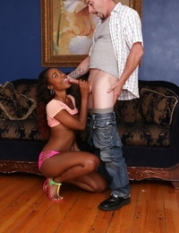 Ebony pornstar with little tits Chanell Heart pleases her man with a blowjob