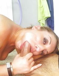 Euro chick Mar Punch taking jizz shot in mouth after deep-throat buns