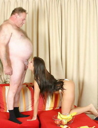 Young black-haired lady swallows her sugar daddys jism after they tart\'s