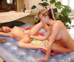 Sapphic teenager hottie Yasmin and her girlfriend make each other jizz