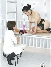 Chesty mature femdom has some fun with her submissive asian masculine pet