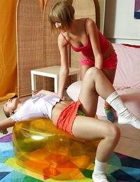 Killer lesbian teenagers Hilary & Silvana B having joy after workout