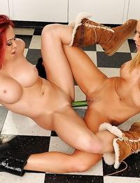 Asian lesbian Mia Lelani shoves cucumber inwards cute honey Sandy
