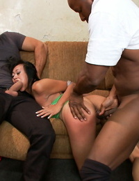 Slutty Asian vixen Krissie Dee gets her crevices cruelly pounded by cranks