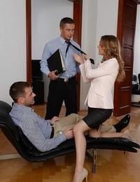 Whorish office worker Sabrina Moore taking gonzo dp