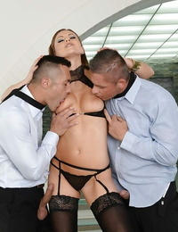 Stocking attired Tina Kay taking double penetration during MMF threesome