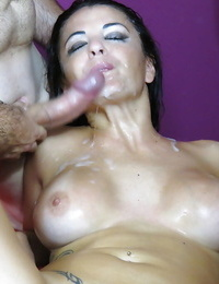 Dark-haired Amanda X is shine with gang of dudes on the camera