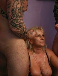 Horny granny Anna A taking anal hook-up and Double penetration after providing DT in MMF three-way