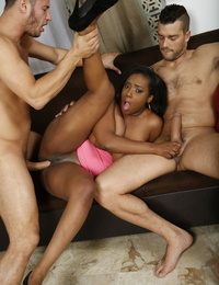 Fat caked black chick Lisa Tiffian hooks up with white men for a Double penetration