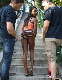 Scorching captured girl Marie Luv smallish two white studs simultaneously