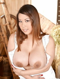 Big-titted Asian stunner Tigerr Benson mind huge-chested bareness solo