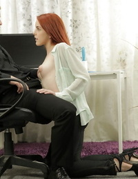 Redhead harmless experienced Amarna Miller is toying with bosss shaft