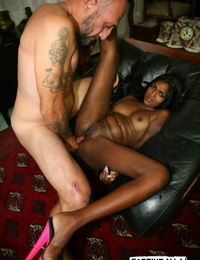 Leggy Indian damsel gets fucked by a white man wearing pinkish high-heeled slippers