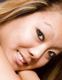 Cute Asian amateur Kandy spreading shaved babe pussy up close