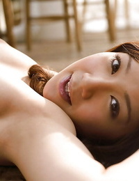 Big-titted asian honey Ryo Akanishi taking off her undergarments top