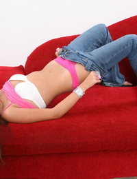 Teenage babe with small knockers Michelle Maylen opening up her tight beaver