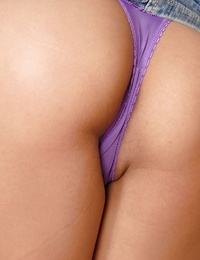 Small Asian first timer Lana showing off g-string adorned ass for close ups