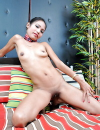 Lonesome fledgling Asian with lil\' tits Rose tickles her hairless keyhole