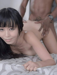 Petite Asian chick Marica Hase deep throats fat cock and gets humped doggystyle