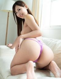 Japanese babe Emi Aoi gets her purple subjugation disrobed & her scorching beaver pounded