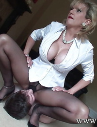 Female domination act with gorgeous mature Chick Sonia and her lover