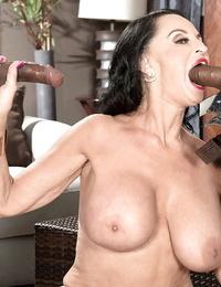 Big-chested granny Rita Daniels providing enormous seized dick ball licking oral pleasure