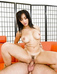 Seductive asian MILF with thick tits sucks and nails a thick dick