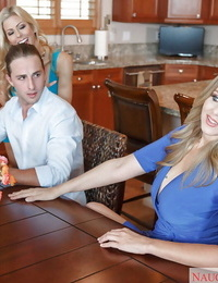 MILF adult movie stars Alexis Fawx and Julia Ann have three way on kitchen table