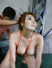 Busty and lubed Jap Yuna Hirose taking spunk on face during gangbang