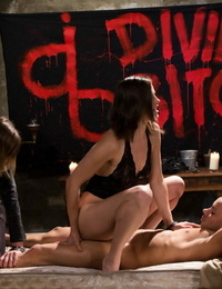 3 cruel bitches tease a submissive male until probing jerking him off