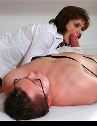 Handsome mature girl gives a blowjob and unveils her absorbs fanny