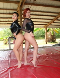 2 nasty babes Queen Amadahy and Mistress Mia manhandle their naked guy