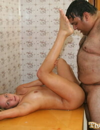 Diminutive girl Alexis Sunshine has sex with an obese stud with a sweat on