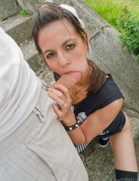 Fantastic Holly D deep-throats and pounds nasty James Deens penis outside of Paris