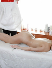 Slutty cockblowers gets jizzed over her ass and back after sex with massagist